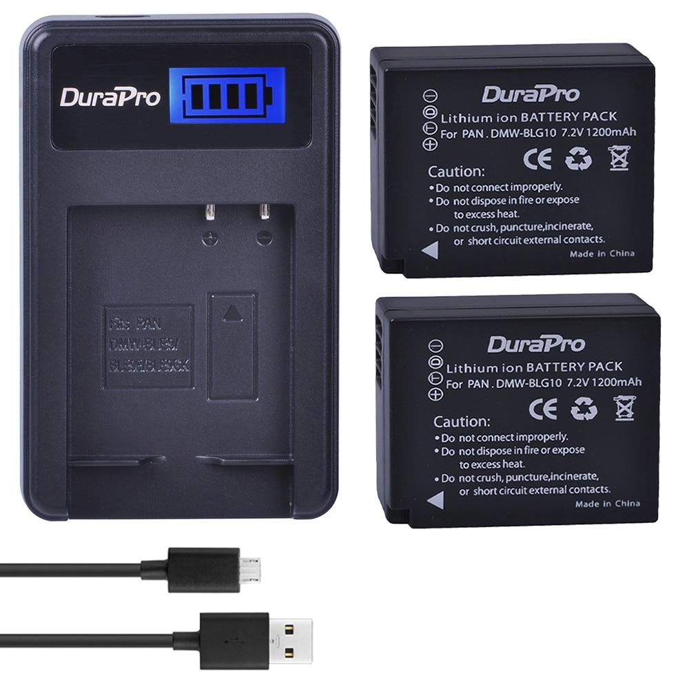 2pc DMW-BLG10 DMW BLG10 BLG10e BP-DC15 BPDC15 Camera Battery +LCD Charger For Panasonic LUMIX GF5 GF6 GX7 LX100 GX80 GX85