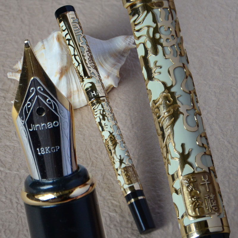 JINHAO 5000 WHITE AND GOLDEN MEDIUM NIB FOUNTAIN PEN DRAGON EMBOSSED 2 pcs jinhao two dragon play pearl brass broad nib fountain pen roller ball pen set