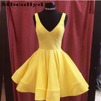 Mbcullyd Cute Pink Yellow V Neck Short Cocktail Dresses 2020 Cheap Sleeveless Girls Prom Party Homecoming vestidos de fiesta