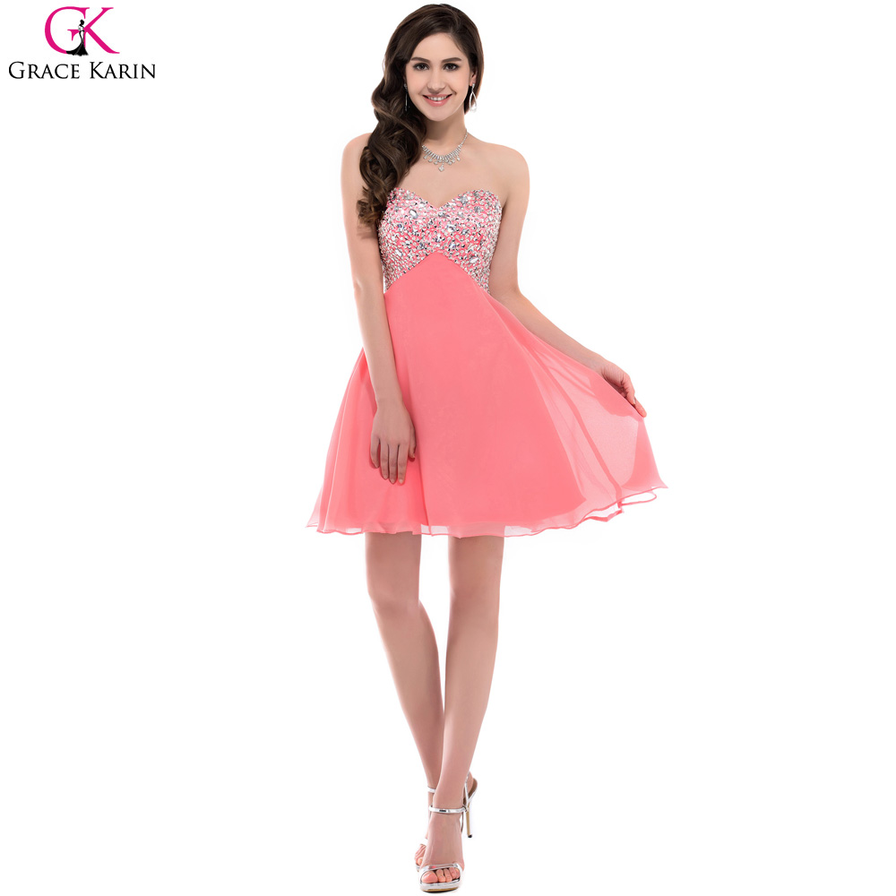 Rhinestone knee length evening dresses