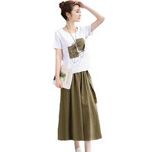 Fashion Musim Panas Setengah Panjang Rok Wanita Suits New Plus Ukuran Cetak Lengan Pendek T-shirt Katun + Kain Linen Dua Potong set Top dan Rok(China)