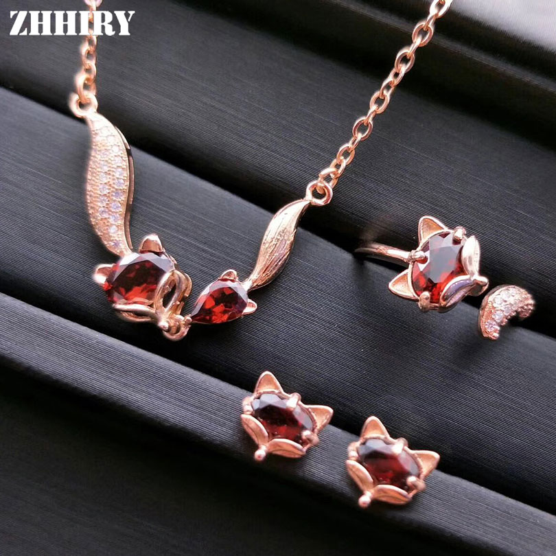 ZHHIRY Women Natural Garnet Gemstone Jewelry Sets Genuine 925 Sterling Silver Set Fox Ring Earring Pendant