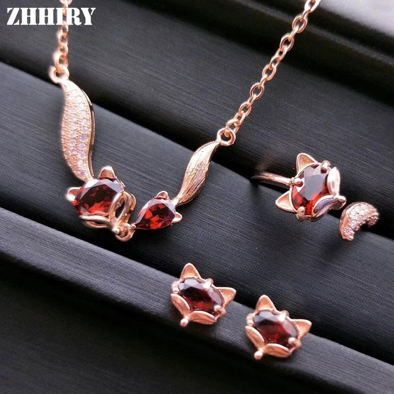 Conjunto de joyas de piedras preciosas de granate Natural para mujeres de ZHHIRY conjunto de joyas de plata de ley 925 auténtica collar de pendiente de anillo de zorro joyería fina-in Conjuntos de joyería from Joyería y accesorios    1