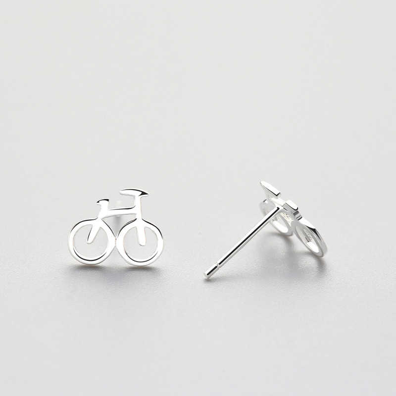 INZATT Batu Nyata 925 Sterling Silver Sepeda Bentuk Stud Earrings Trendy Perhiasan Untuk Pacar Hadiah Partai Brincos Acceddories