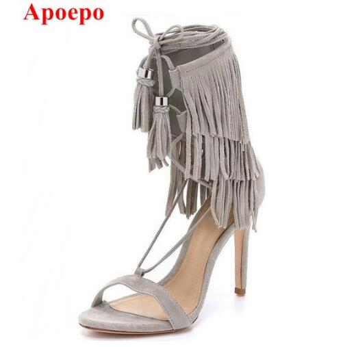 Hot Selling Cheap Beige Suede Leather Lace-up Ankle Strap Sandals High Heel Cut-out Fringe Dress Shoes Designer Tassel Sandals hot selling tassels cut out women shoes thin high heel lace up peep toe sandals suede leather graceful party footwear