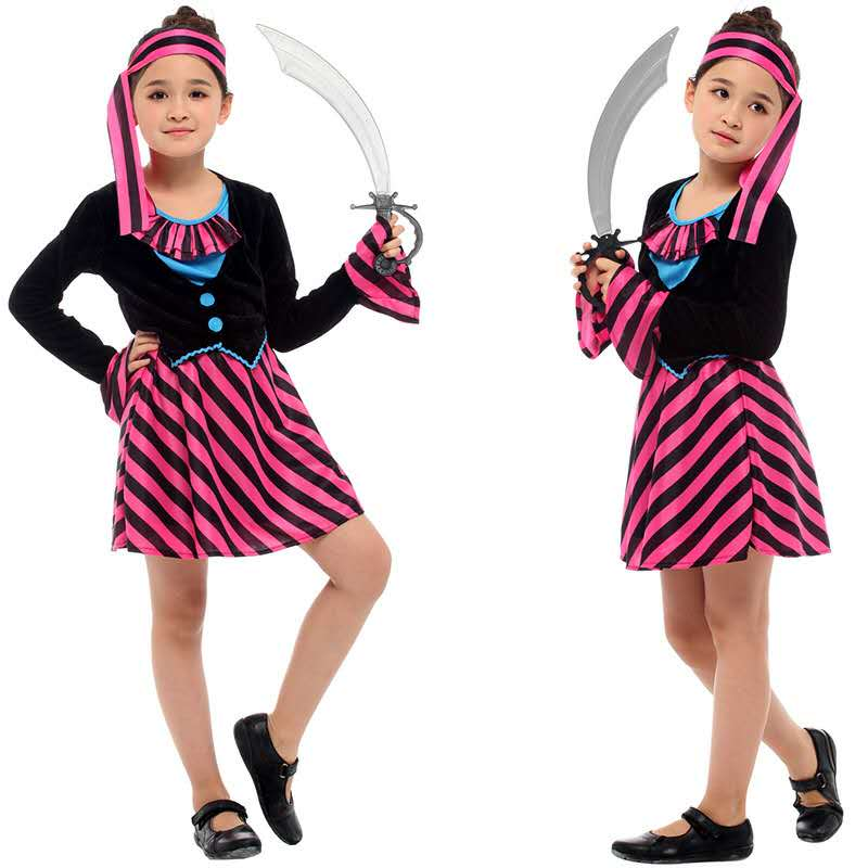 2018 Halloween Children's Costumes Anime Costumes Girl's Caribbean Pirate Dress Carnival Party Costume Jack Captain's Dress