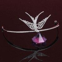 Tiara Rhinestone Coronas de Golondrina Joyería Principal Nupcial Piezas Pelo de La Boda Accesorios Pageant Crown Bird WIGO1084