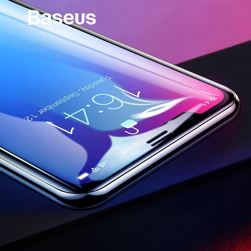 Baseus 0,2mm de vidrio Protector para iPhone Xs Max XR 2018 Protector de pantalla delgada la cobertura completa de templado de vidrio de película para iPhone Xs