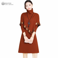 2019 New Autumn Winter Fashion Women Turtleneck Bottoming Sweater 2 Piece A Line Dress Sets Ladies Casual Knitwear Suit Okb533