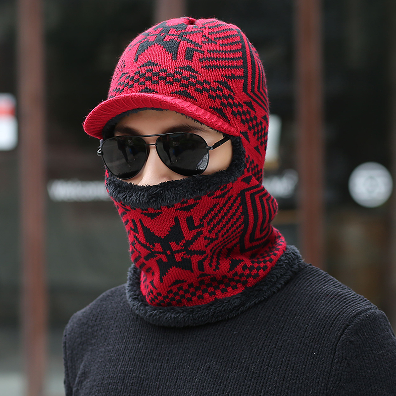 New Balaclava Winter Men's Skullies Wool Knitted Balaclava Cap Ninja Mask Thermal Plush Pocket Hat Snow Cap  beanies warm Fleece skullies