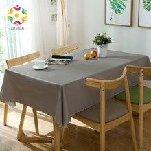 PVC Pour Color Rectanglar Tablecloth Waterproof Dustproof Anti-oil  Table Cover Home Decorative Kitchen