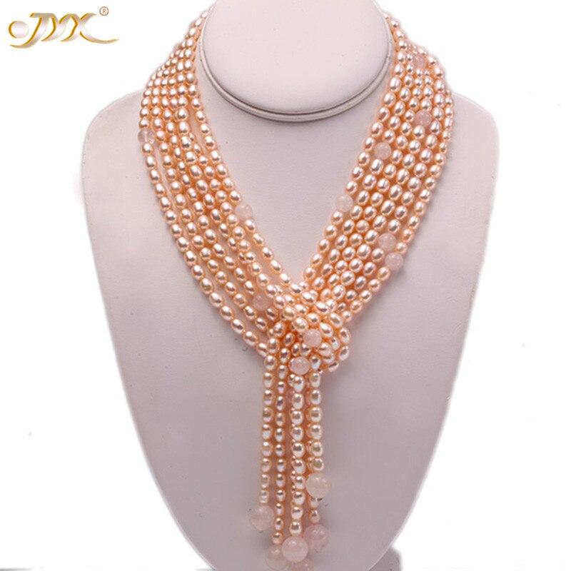 JYX collier Long exquis 6x8mm Rose ovale perle d'eau douce et Quartz Rose trois brins pour les femmes 48