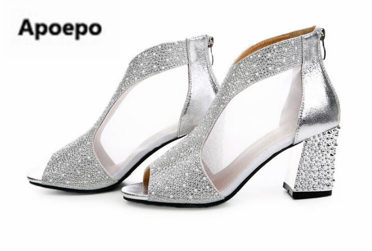 Apoepo brand summer peep toe ankle boots sliver gold crystal heel high heels sandals women Breathable bride wedding shoes 2018 odetina 2017 new fashion high heels transparent women boots clear peep toe crystal heel shoes summer ankle boots big size 34 42
