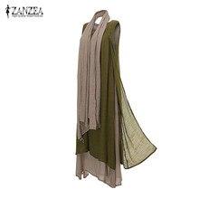 ZANZEA Для женщин Винтаж бохо платье Повседневное Свободные рукавов О Средства ухода за кожей Шеи Длинные Макси платья