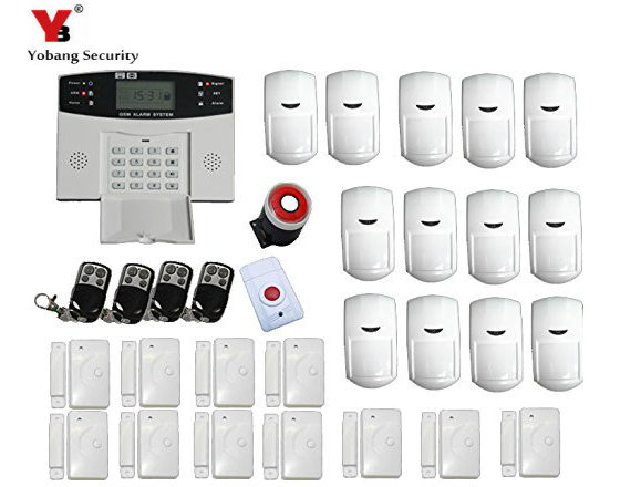 YobangSecurity Russian English Spanish Italian Language Wireless Home GSM Alarm System Wired Siren Door Detector PIR Sensor