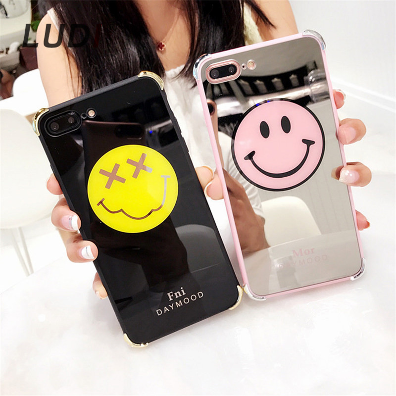 LUDI Cute Smile Face Glossy Mirror Case for iPhone 7 7Plus Hipster Hard PC Fundas for iphone 6 6s 8 8Plus 6PLUS X