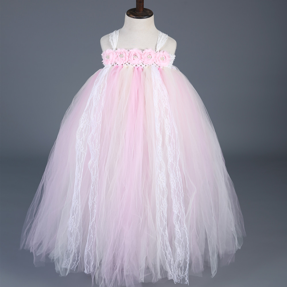 Lace Tulle Flower Girl Dresses Light Pink Girls Pageant Wedding Ball