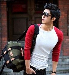 الذكور أحمر وأبيض اللون كتلة ضئيلة س الرقبة طويلة الأكمام القميص الأساسي قميص الذكور ضيقة منخفضة طوق تي شيرت