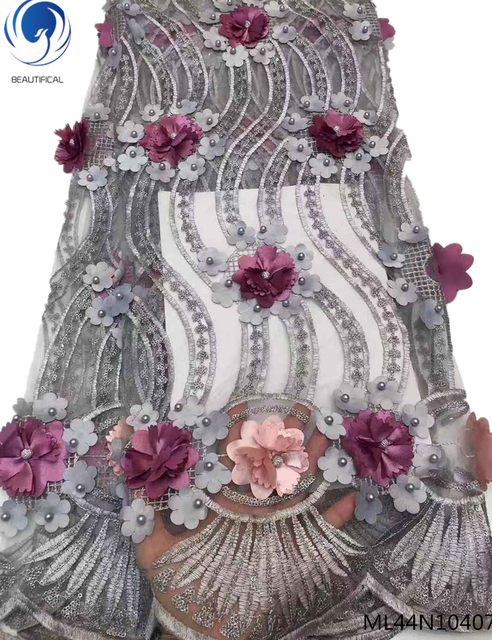 BEAUTIFICAL gray french lace fabric beads 3d flowers nigerian net lace fabrics 2019 latest african net laces with beads ML44N104