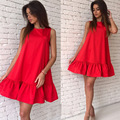 Women Sexy fashion irregular hem o-neck sleeveless dresses Women 2016 Summer Solid Candy color Loose elegant Dresses Vestidos