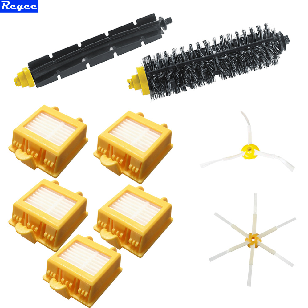 Total 9Pcs/Lot Beater Brush Filter Bristle 3 & 6 Armed Pack For iRobot Roomba Vacuum Parts 700 Series 760 770 780 790 Free Post e cap aluminum 16v 22 2200uf electrolytic capacitors pack for diy project white 9 x 10 pcs