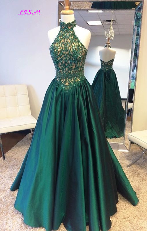 Green Satin Long Evening Dress Halter Appliques Bead Prom Gowns vestido festa longo Women Dresses Evening Party Special Occasion