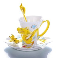 Refined Pottery Drinkware Porcelain enamel china Dragon Cups Ceramics Coffee cup 3pcs/set(1 cup, 1saucer, 1spoon)