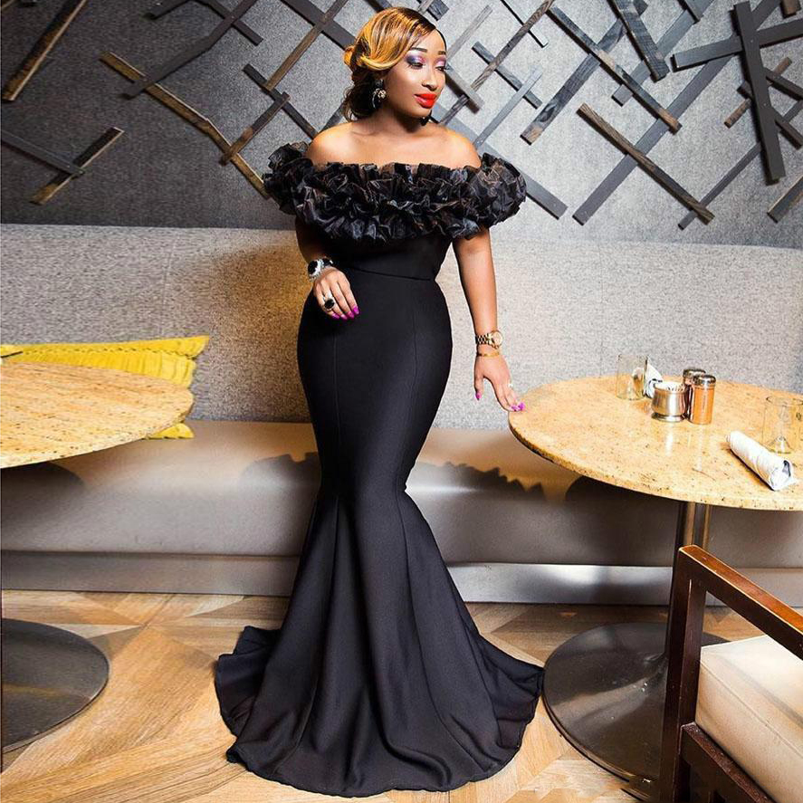 2019 New African Black Mermaid Evening Dresses With Ruffles Bateau Neck Long Prom Gowns Zipper Back Cheap Formal Dress