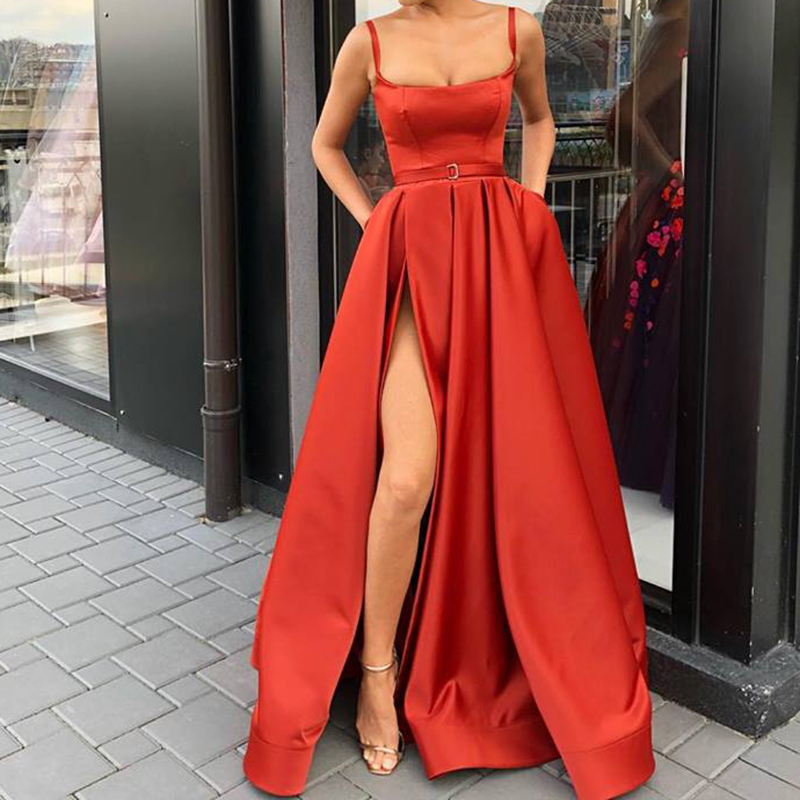 Evening     Dresses   Custom Made Square Collar A-Line Spaghetti Straps Satin High Slit Formal Gowns with Pockets