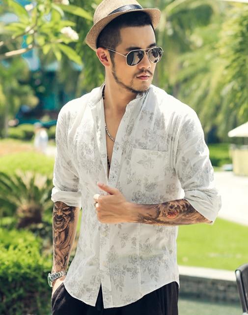 c0a5467db5f8 Fashion Brand Summer breathable Mens Linen Shirt Long Sleeve printed Casual  Slim fit Mandarin Collar Loose