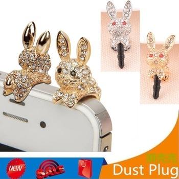 Headset Dust Plug For All 3.5MM Headphone Port Dust Plugs of Cute Elegant Rabbit Shape Anti Dust Earphone Plug For Ipnone 4 5S 6