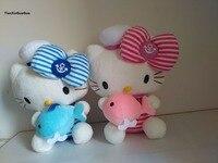 Yaklaşık 35 cm donanma takım elbise stripes tasarım kitty hug küçük yunus peluş oyuncak, yumuşak atın yastık doğum günü hediyesi b2000