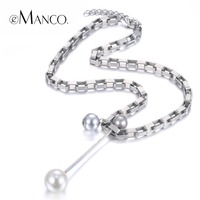 EManco Trendy Minimalist Long Necklace Pendants For Women Iron Chainl Zinc Alloy Imitation Pearls Silver Plated