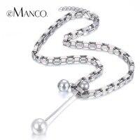 EManco Trendy Minimalist Long Necklace Pendants For Women Iron Chainl Zinc Alloy Imitation Pearls Silver Plated