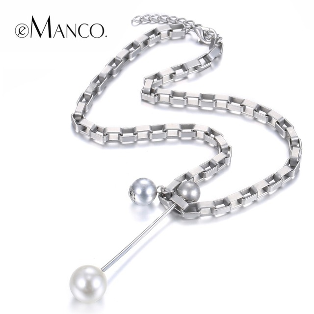 eManco Trendy Minimalist Long Necklace&Pendants for Women Iron Chainl Zinc Alloy& Imitation Pearls Silver Plated Fashion Jewelry
