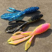 3 pçs super isca de pesca suave plástico worm camarão iscas para truta baixo salmão pesca equipamento 120mm 13.5g isca artificial