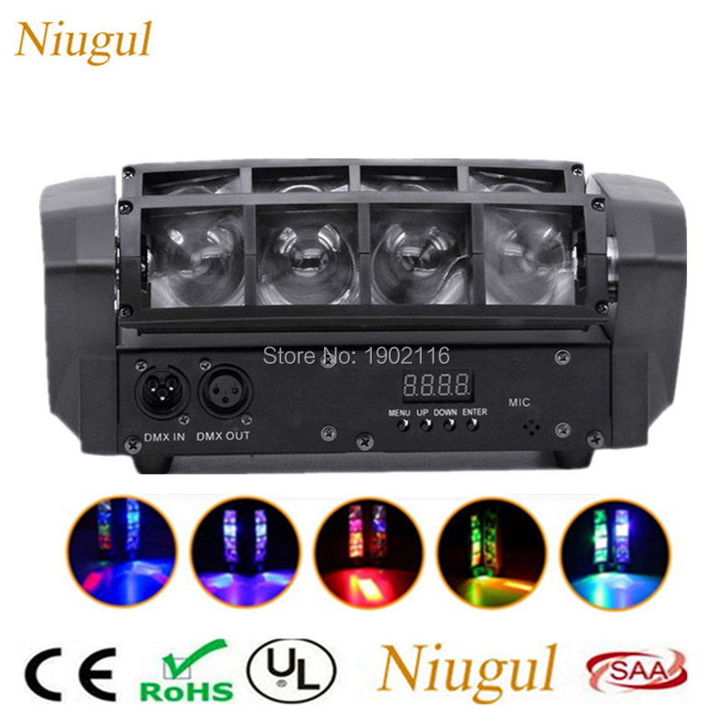 цена на Mini LED Spider Light DMX512 LED Moving Head Light RGBW LED Beam Club DJ Disco Stage Effect Light Bar KTV Lamp Party DJ Lighting