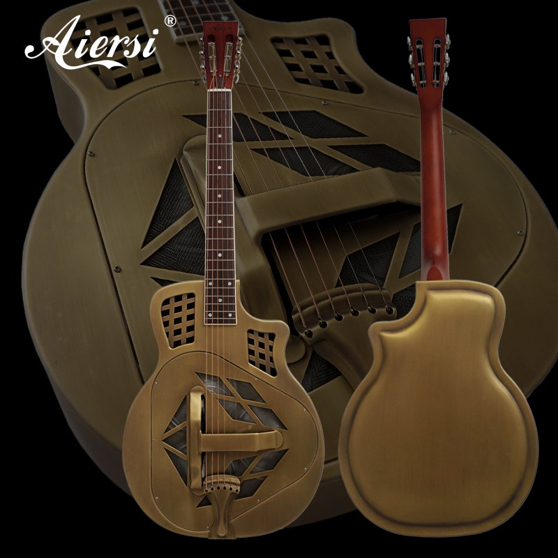 Aiersi Vintage Golden Bell Brass Cutway Metal Body Tricone Resonator Guitar With Guitar Case and Strap performance cutway classic guitar with hard case
