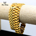 Men's Luxury 24K Gold Plated Watch Link Bracelet Stainless Steel 16mm Width 3/5 Row Classic Watch Strap Hip Hop Bangle Cool Gift