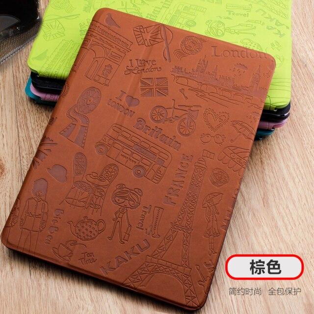 3D Тиснение Case Для Ipad Air 2 ИСКУССТВЕННАЯ Кожа Smart Case для iPad 5 6 Воздушный 1 в Уникальные Моды Цветочный Париж Дизайн Авто обложка сна