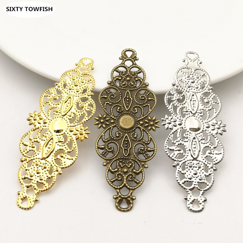 20pcs/lot 24x61mm 3Colors Metal Long Filigree Flowers Slice Charms Settings DIY Components Jewelry Accessory Findings B103202