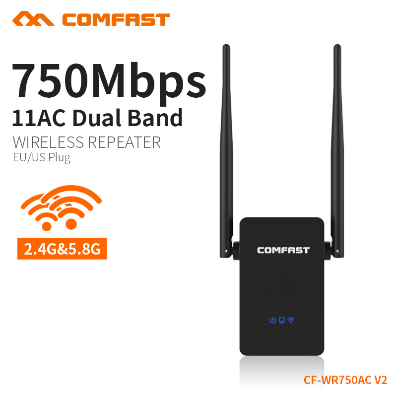COMFAST 750 Mbps wifi wireless repeater router Penguat Sinyal 5 GHz jaringan dual band 10dbi Antena Range extender CF-WR750AC