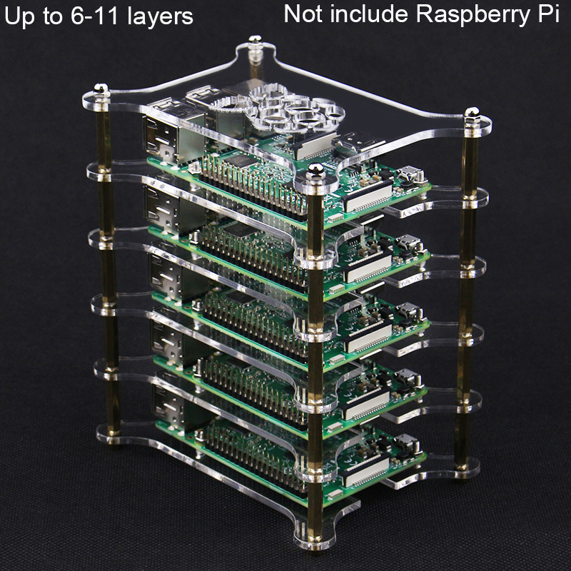 Raspberry Pi 6 7 8 9 10 11 Layers Case Tansparent Acrylic Box Holder For Raspberry Pi 4 Model B 3B+/3B