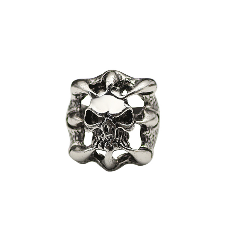 Fashion Punk Claw Skull Head Ring Mens Jewels Gothic Knight Cutout Rings Teeth Stainless Steel Halloween Ornaments