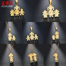 Auxauxme 11 видов стилей, простое семейное ожерелье с подвеской из нержавеющей стали, для папы, мамы, девочки, мальчика, семейное ожерелье для женщин и мужчин