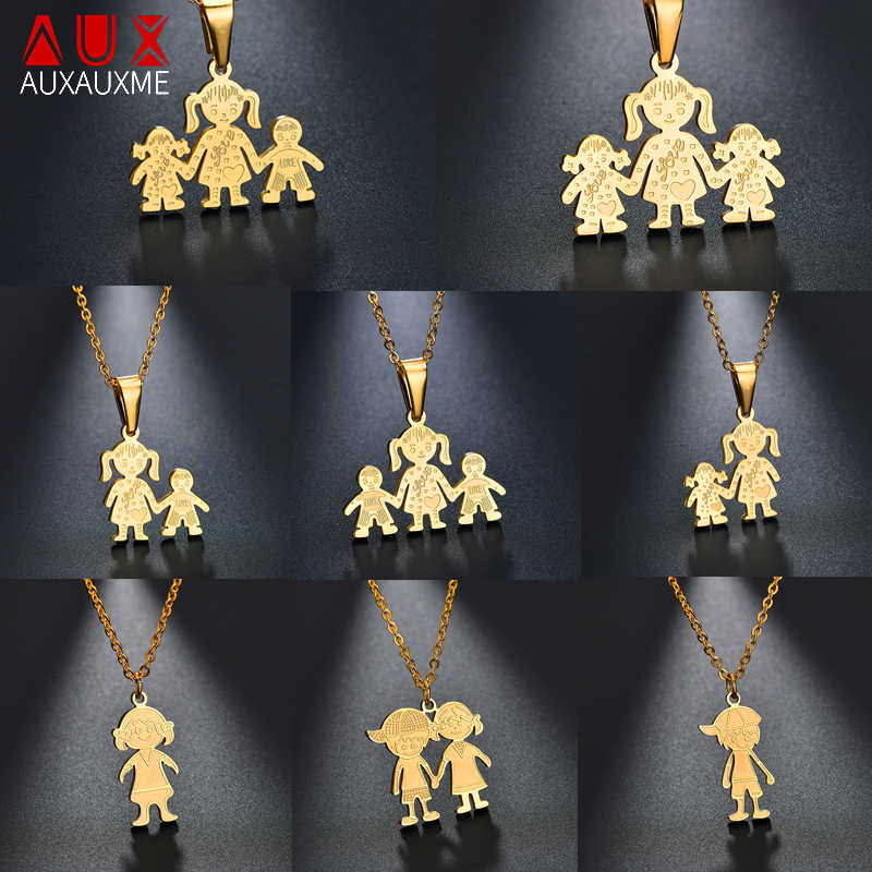 Auxauxme 11 Styles Simple Family Pendant Necklace Stainless Steel Father Mother Girl Boy Love Family Necklace For Women Men