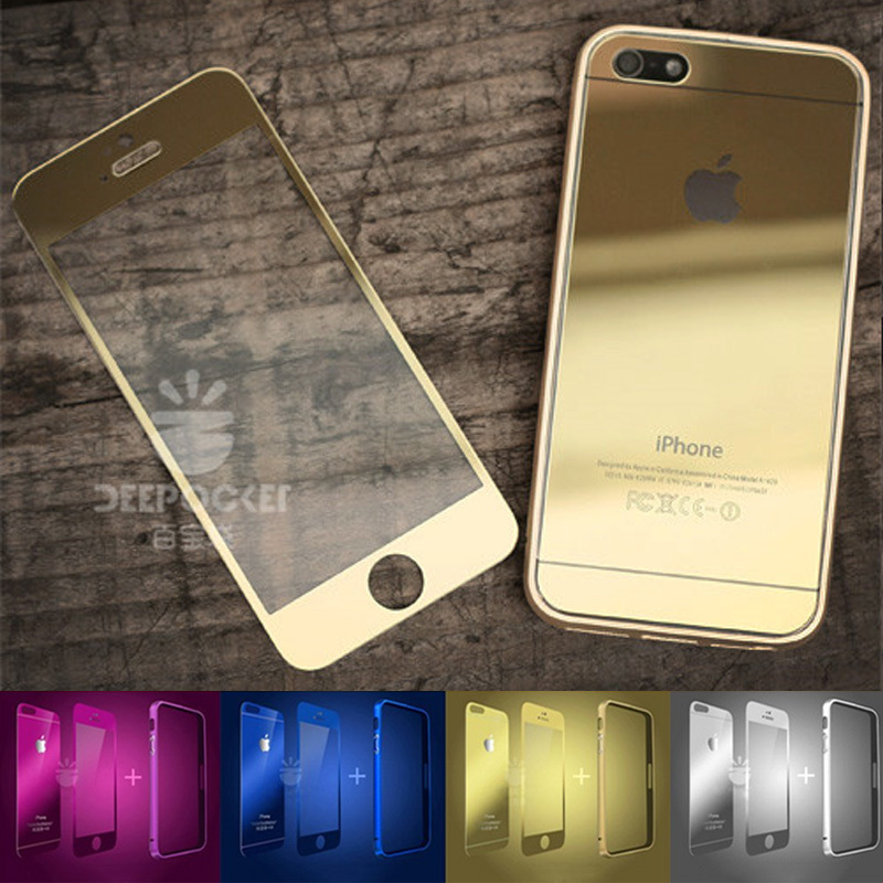 pretty nice 4961a 3a2bb US $6.98  Full Glass Cover color tempered glass colorful Screen Protector  for IPHONE 5 5S Front+Back Mirror protective film for 5s Bumper on ...