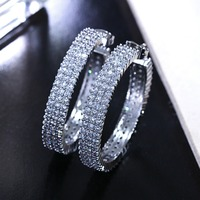 Classic Ear Hoops Round shape Full Pave Setting Cubic stones Zirconia Women Bride Jewelry Gold color AAA Designer Earring Hoops