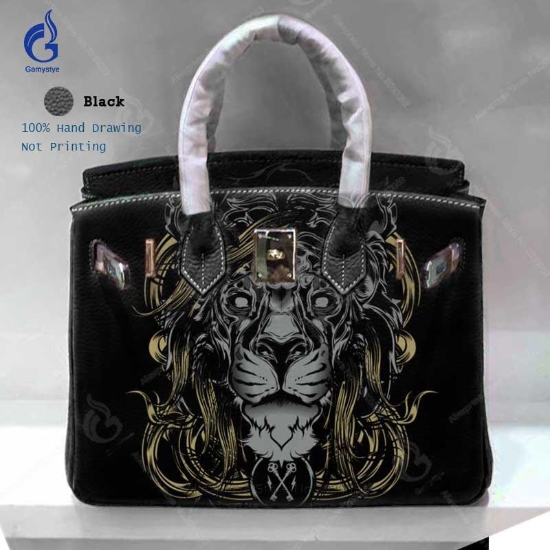 все цены на Women Genuine Leather Handbags Totes Bags Art Hand Painted Lion Designer Bag Classic Black Large Capacity Crossbody Shoulder Bag онлайн