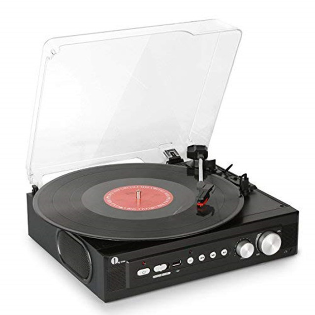1BYONE Stereo Record Player With Built In Speakers Mini Belt Drive Turntable  Support Vinly To